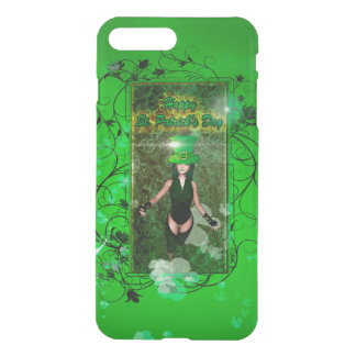 Happy St. Patrick's day with cute girl and flowers iPhone 7 Plus Case