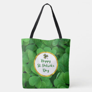 Happy St. Patrick's Day with Green Clovers Tote Bag