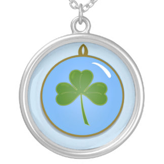 Happy St. Patrick's Day with shamrock clover Round Pendant Necklace