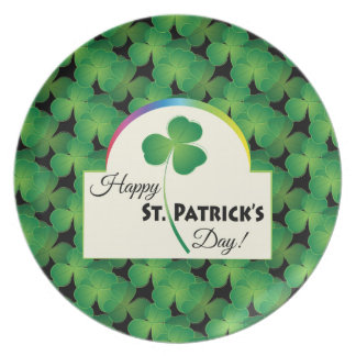 Happy St. Patrick's Day with shamrock Dinner Plates