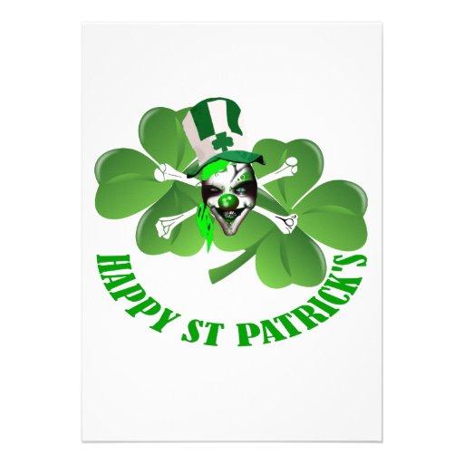 Happy St Patrick's scary clown Custom Announcement