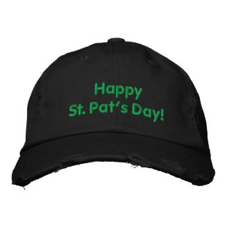 Happy St. Pat's Day Green Embroidered Hat