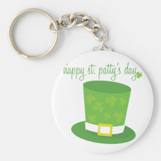 Happy St Pattys Basic Round Button Key Ring