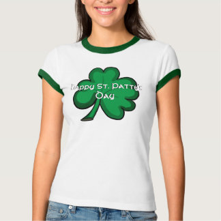 Happy St. Patty's Day green shamrock ladies tee