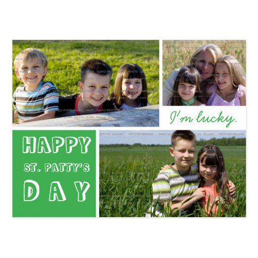 Happy St Pattys Day Photo Collage Green White Post Cards