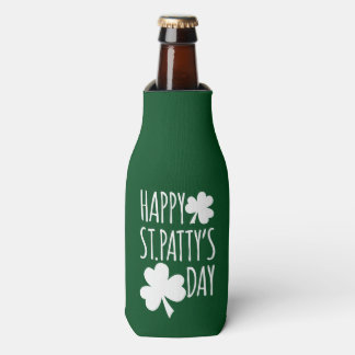 Happy St. Patty's Day With Name Bottle Cooler