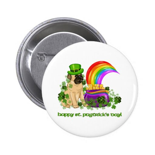 Happy St. Pugtrick's Day Tees and Gifts 6 Cm Round Badge