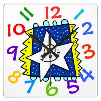Happy Star Face Children's Room Wall Clock