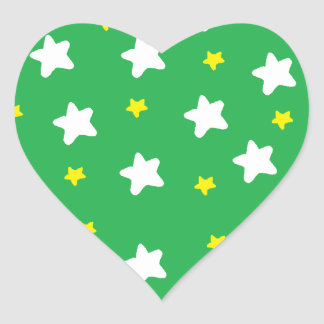 Happy Stars Green Heart Sticker