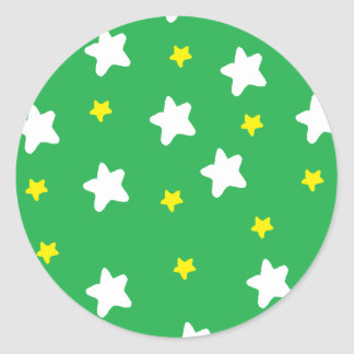 Happy Stars Green Round Sticker