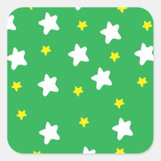 Happy Stars Green Square Sticker