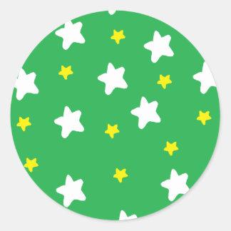 Happy Stars Green Round Stickers