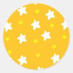 Happy Stars Orange Round Sticker