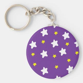 Happy Stars Purple Basic Round Button Key Ring
