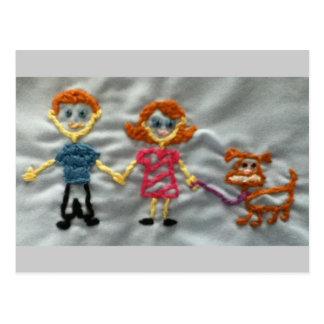 Happy Stitch Family and Chocolate lab Postcard