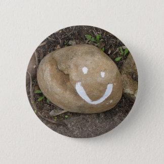 Happy stone 6 cm round badge