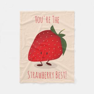 Happy Strawberry Character | Fleece Blanket