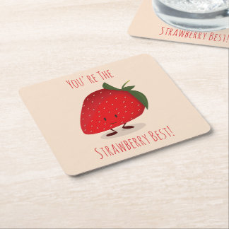 Happy Strawberry Character | Paper Coaster