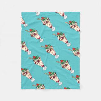 Happy Strawberry Sundae Fleece Blanket