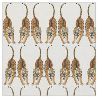 Happy Stretching Tiger Fabric