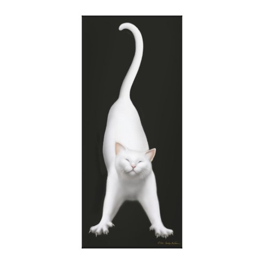 Happy Stretching White Cat Wrapped Canvas