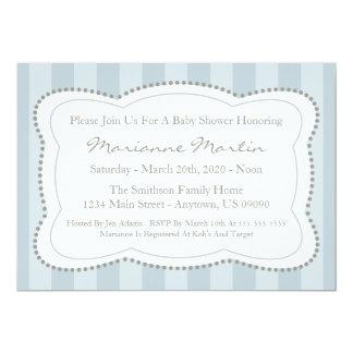 "Happy Stripes Baby Shower Invitation (Blue Gray) 5"" X 7"" Invitation Card"