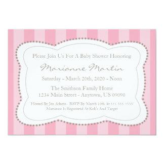 Happy Stripes Baby Shower Invitation (Pink)