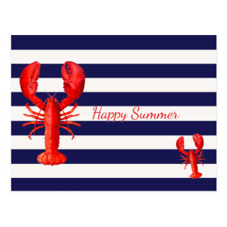 Happy summer blue white stripes with red lobsters postcard
