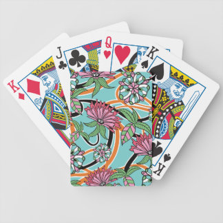 happy summer floral pattern bicycle playing cards