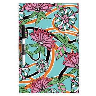 happy summer floral pattern dry erase board