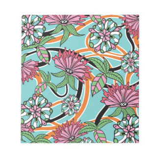 happy summer floral pattern notepad