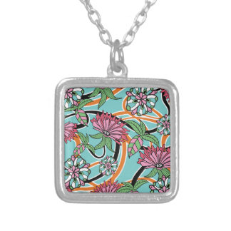 happy summer floral pattern silver plated necklace