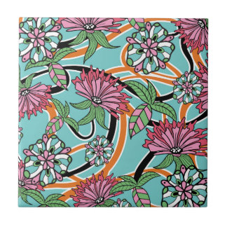 happy summer floral pattern small square tile