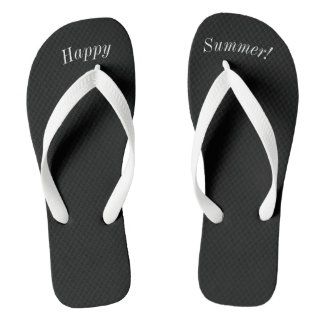 Happy Summer Solid Black W Wide White Strap Flip Flops