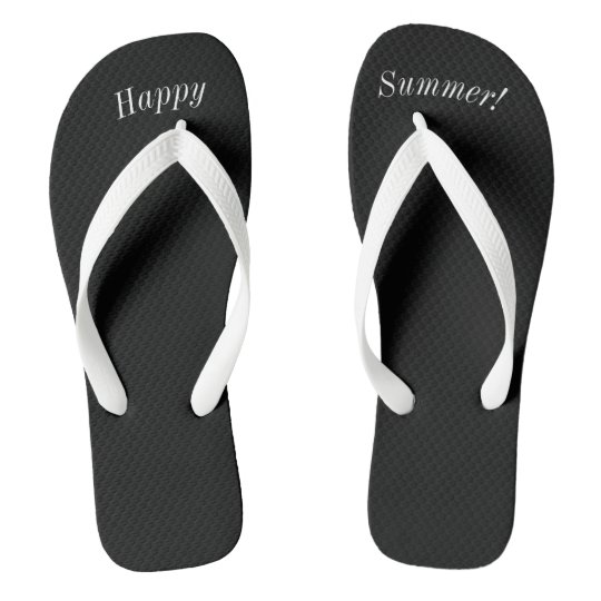 Happy Summer Solid Black W Wide White Strap