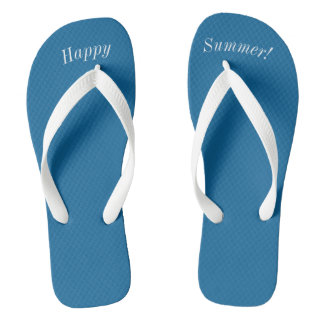 Happy Summer Solid Ocean Blue W Wide White Strap Flip Flops