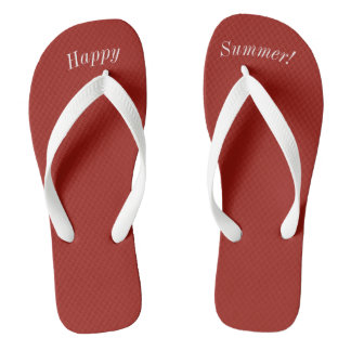 Happy Summer Solid Red W Wide White Strap Flip Flops