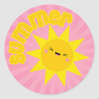 Happy Summer Sun Classic Round Sticker