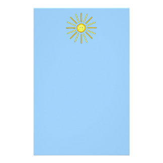 Happy Summer Sun. Yellow and Blue. Customised Stationery