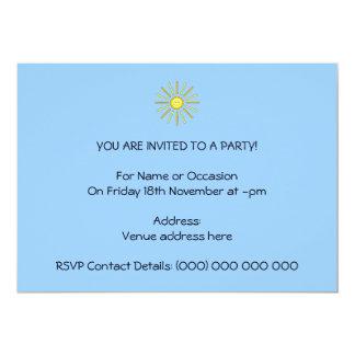 Happy Summer Sun. Yellow and Blue. 13 Cm X 18 Cm Invitation Card