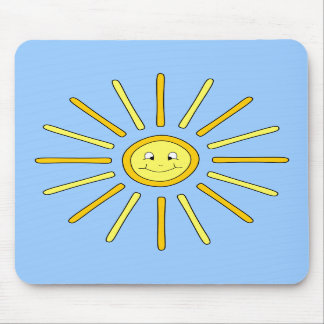 Happy Summer Sun Yellow and Blue Mousepads