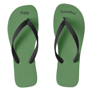 Happy Summertime Solid Green W Wide Black Strap Flip Flops