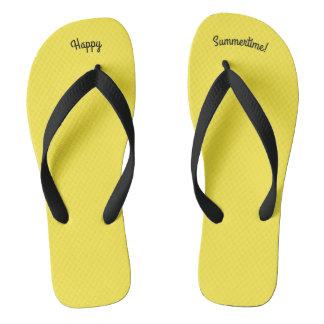 Happy Summertime Solid Yellow W Black Wide Strap Flip Flops