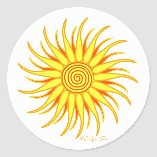 Happy Sun Classic Round Sticker