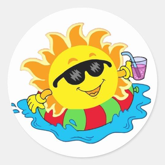 Happy Sun in the Pool Classic Round Sticker