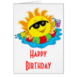 Happy Sun in the Pool Greeting Cards