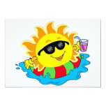 Happy Sun in the Pool 13 Cm X 18 Cm Invitation Card