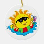 Happy Sun in the Pool Round Ceramic Decoration