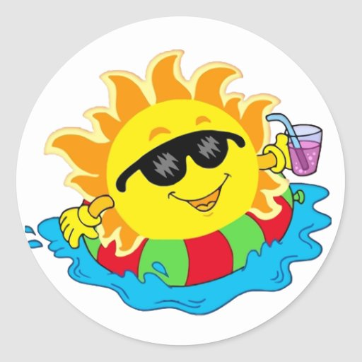 Happy Sun in the Pool Round Stickers