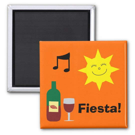 Happy Sun, Music & Wine Orange Fiesta magnet